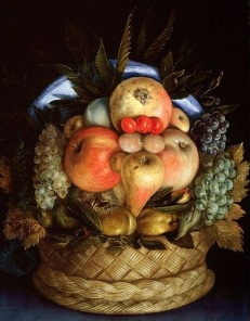 Giuseppe Arcimboldo, Reversible Head with Basket of Fruit